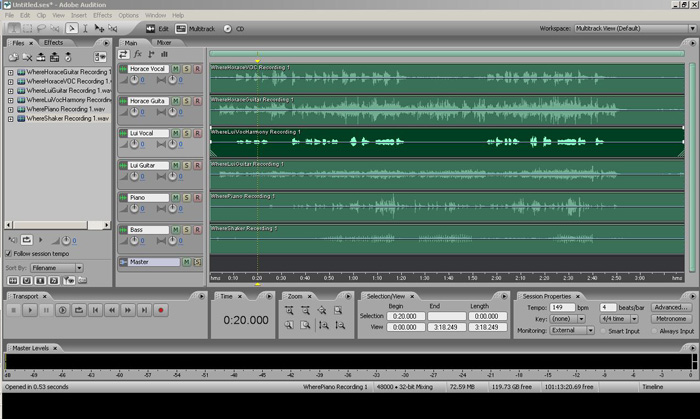 Adobe Audition Mutitrack Setup Screen Capture